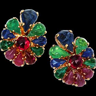 Christian Dior Clip Earrings, Fruit Salad style stones