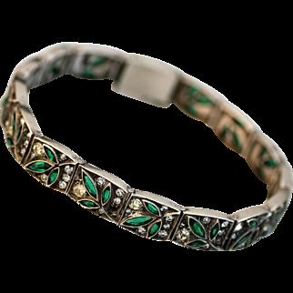 German Art Deco Sterling Silver Emerald & Diamante Paste Bracelet