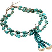RARE Vintage, Traditional Navajo Turquoise Nugget & Heishi Bead Necklace with Jacla