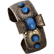 Maltese Cross Bracelet with Blue Moonglow Cabochons