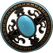 Hat Pin with Brass and Faux Turquoise