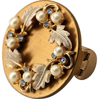 Lipstick Holder with Mirror, Enameled with Faux Pearls and Rhinestones