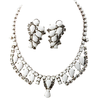 By Gale Milk Stone Glass and Rhinestone Necklace and Earrings