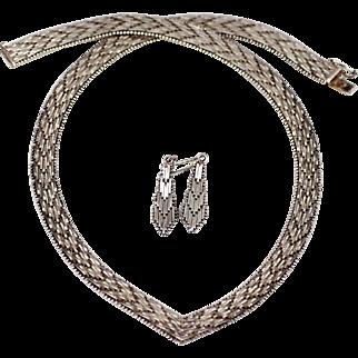 Herringbone Pattern Sterling Necklace and Pierced Earrings, Italy