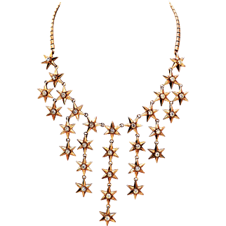 Trifari 'Alfred Philippe' Golden Six Pointed Cascading Star Spangled Necklace