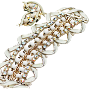 Signed Art Enamel and AB Rhinestone Earrings and Bracelet