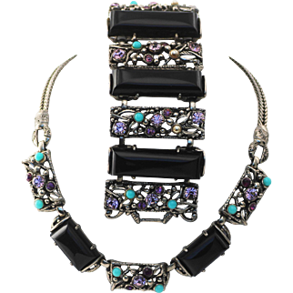 Selro Necklace and Wide Bracelet, Purple Rhinestones and Black Thermoset Rectangle Stones