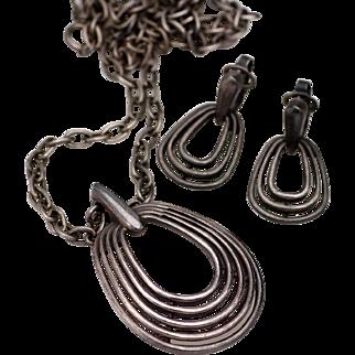 Crown Trifari Necklace Pendant and Earrings in Gun Metal Gray