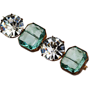 Art Deco Bar Brooch Open Backed Round and Square Rhinestones