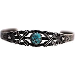 Fred Harvey Style Railroad Souvenir Sterling Bracelet with Turquoise Cabochon