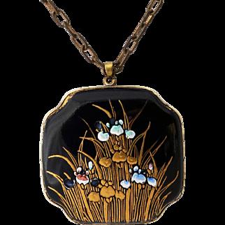 Art Nouveau Enamel and Floral Pendant Necklace, Navy Blue