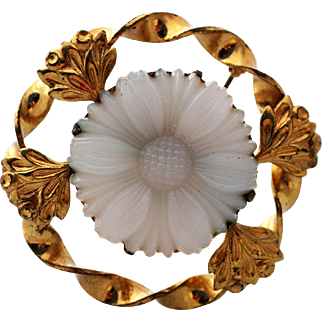 Art-Nouveau Floral and Gilt Brooch with White Glass Flower