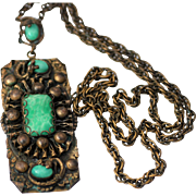 Czech Brass Pendant Necklace w/Green Stones in Highly Textured Design with Snake Accents