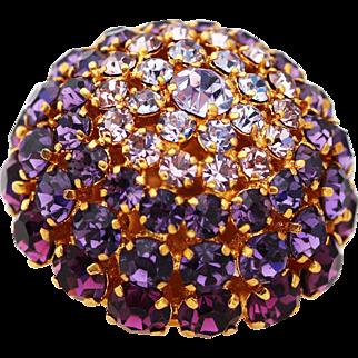 Austrian Pink and Purple Rhinestone Studded Brooch