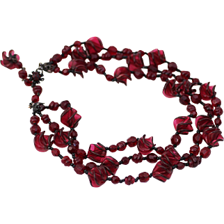 Miriam Haskell Three Strand Deep Cranberry Molded Glass Beads and Red Crystal Necklace