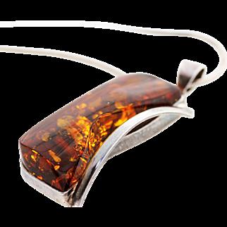 Modern Asymmetrical Pendant Russian Baltic Amber, set in Sterling