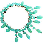 Chrysoprase Bib Necklace with Oblong Dangle and Round Beads - Shimmering Blue Green