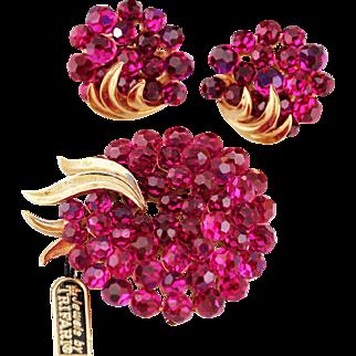 Trifari Fuchsia Briolette Rhinestone Floral Wreath Brooch and Earrings, 1966