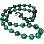 Beautiful Deep Green Malachite Bead Necklace with Copper  Disk Spacers