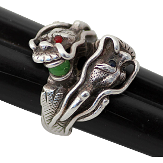 Chinese Dragon Sterling Ring Sz 11 with Jade, Red and Onyx Stones