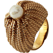 Napier Gold-tone Faux Pearl Ring, 1960s