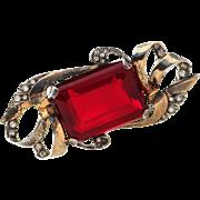Boucher Vtg Sterling Vermeil Plated Ruby Red Glass Rhinestone Brooch Pin
