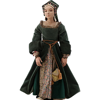 British Tudor Courtier Matron for King Henry's Court, Theater Doll, pre-1960s