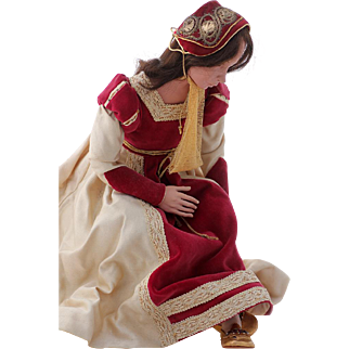 British Tudor Courtier Maiden for King Henry's Court, Theater Doll, pre-1960s