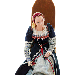 British Tudor Queen, Matron of King Henry's Court, Theater Doll, pre-1960s