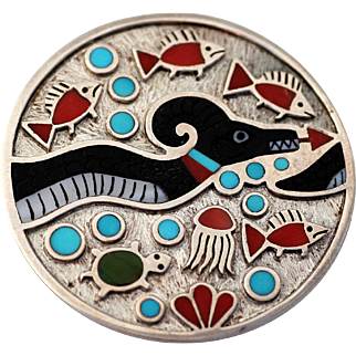 ZUNI Multi-Stone and Sterling Pendant  Water Serpent signed Ruddell Laconsello