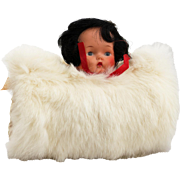 Child's Fur Muff, Hand Warmer with Doll Face