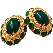 Kenneth Jay Lane K.J.L. Lucite Green Cabochons with Clear Rhinestone Earrings 1960s
