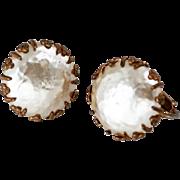 Miriam Haskell Gilt Flower Baroque Pearl Clip Earrings, Vintage