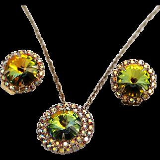Necklace and Earrings Set, Watermelon Tourmaline Rivoli Rhinestones