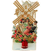 "Victorian German Valentine Children at Windmill, Pop Up, Die Cut Mechanical ""My Valentine"""
