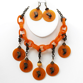 Egyptian Necklace and Earrings, Bakelite and Lucite Necklace & Earrings