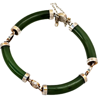 Green Jade with Curved Thick Bars Marked Silver