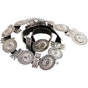 Signed Vintage Navajo Sterling Concho Belt, Respousse and Traditional Stamping