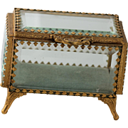 French Beveled Glass Casket w/ Gold gilt Frame and Beveled Glass