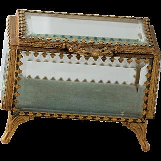 French Beveled Glass Casket w/ Gold gilt Frame and Beveled Glass