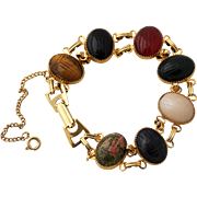 Egyptian Revival Double Link Scarab Bracelet, Gold-Filled Gorgeous