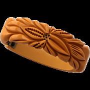 Bakelite Clamper Bracelet, Carved, Pierced Floral Design Hinged Cuff