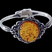 Art Nouveau Style Amber and Sterling Bracelet