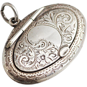 Victorian Sterling Engraved Locket and Compact with Mirror