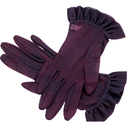 Lady's Sheer Ruffled Gloves, Rich Purple Aubergine Color