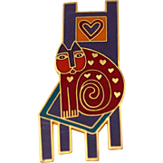 Laurel Burch Cat On Chair Brooch, Darling and Colorful