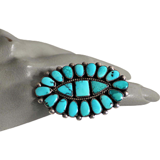 Huge Zuni Native American Turquoise Ring - Beautiful Blue