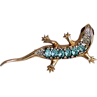 Coro Craft 1940's Sterling Salamander Brooch