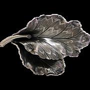Danecraft Sterling Leaf Brooch, Textured Detailing, Lovely