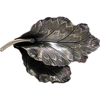 Danecraft Sterling Leaf Brooch, Textured Detailing, Lovely